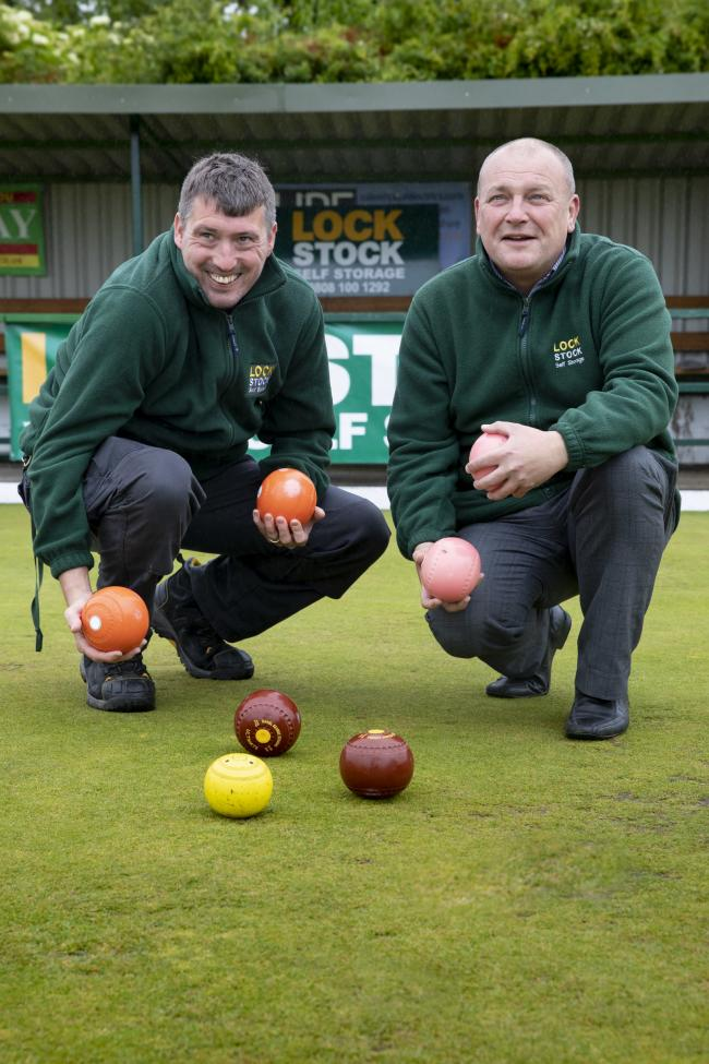 LockStock sponsor East parade bowling club Rhyl; Pictured are Craig Morris and Jeff Woods from LockStock.          Picture Mandy Jones