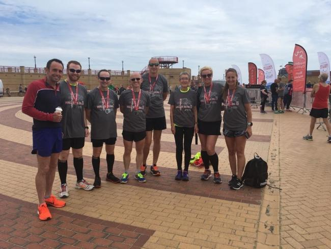 Tim Cahill, Steven McCormack, Sean McCormack, Darren Blazier, Simon Bonfield, Chris Birch, Katei Bonfield and Lorraine Nesbitt at the annual Rhyl Run Festival