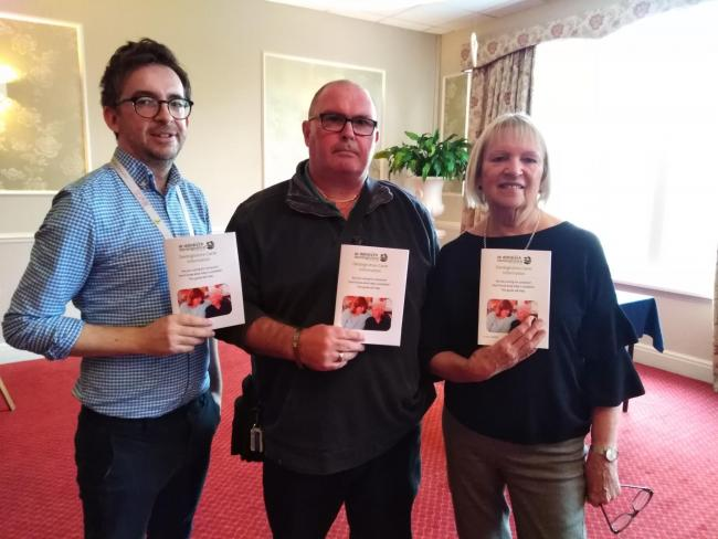 A guide to all the information and support available to carers in Denbighshire has been launched. Pictured are: Michael Langford of NEWCIS, Ian Whitehead and Cllr Bobby Feeley.