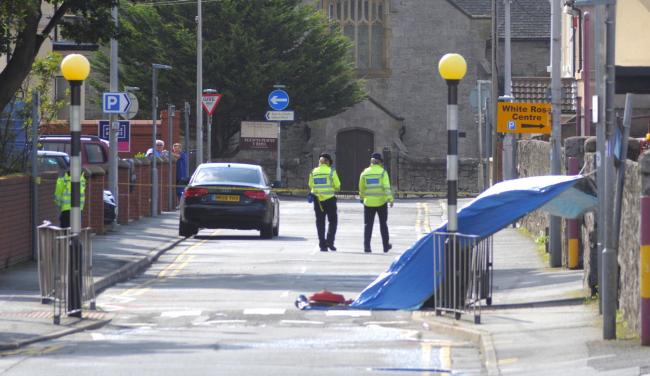 Investigations carried out in Church Street on August 13 after knife attack. Picture: Phil Micheu