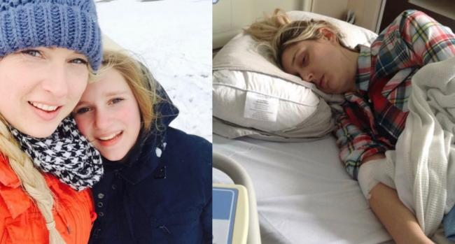 Leah with her daughter Summer, 16, sledging on Denbigh Moors before her ordeal started and (right), Leah who has been bedbound for two years