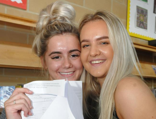 Tayla Rees (left) and Jessica Price where delighted with their A's and B's passes. Picture: Phil Micheu