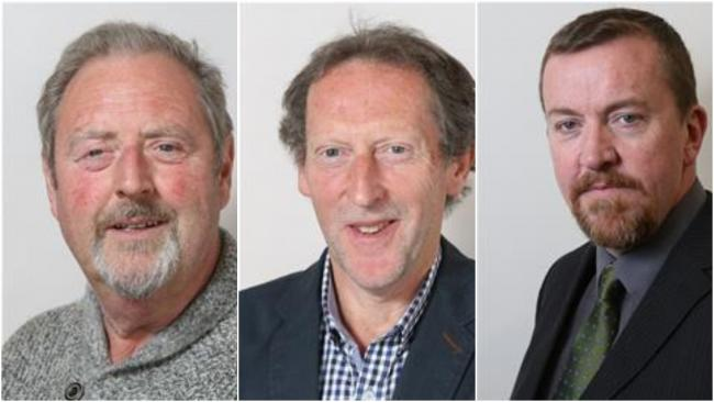 Denbighshire councillors Tony Flynn, Rhys Thomas and Paul Penlington