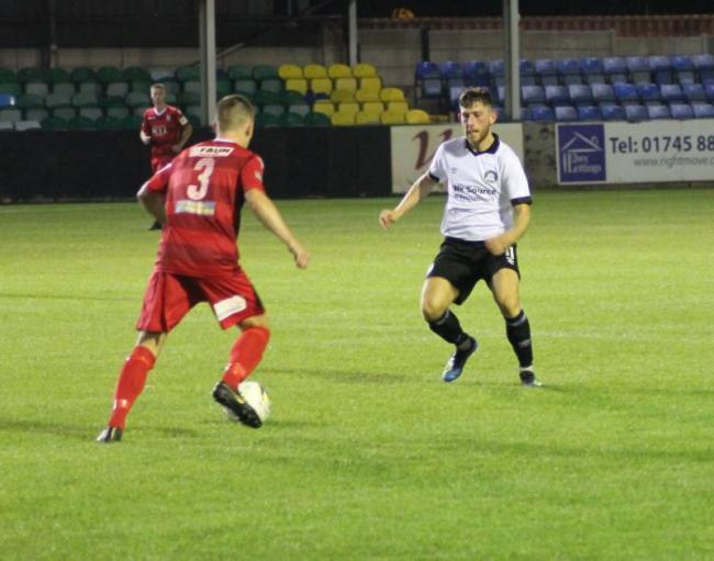 Action from Llangefni Town's narrow loss at Rhyl (Photo by James Curran)