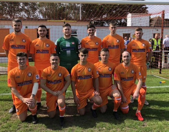 Conwy Borough line up before their game against Bangor City