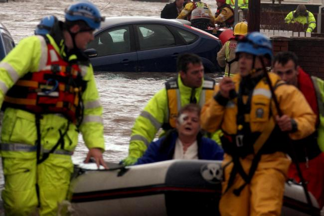 Rhyl high tide flood. Emergency services rescue householders.Ruthin Water Rescue Team was involved with the evacuation of residents of the Garford Road area of Rhyl.