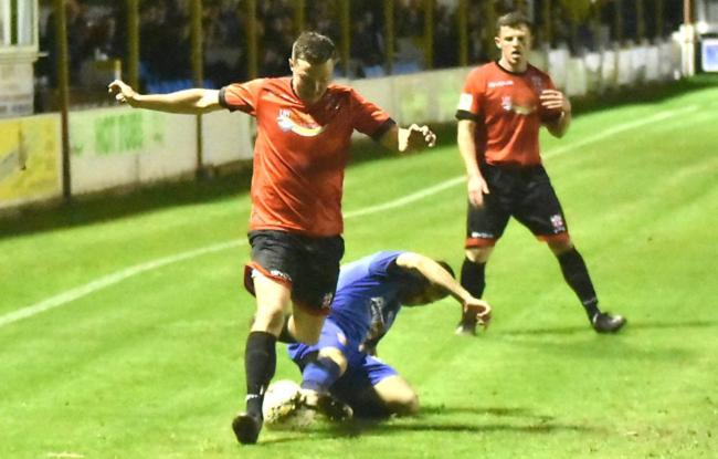 Action from Prestatyn Town's victory over Bangor City (Photo by John Pickles)