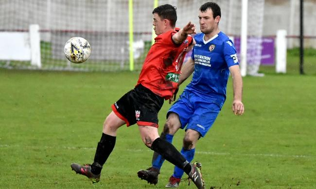 Action from Prestatyn Town's home win over Llanrhaeadr-ym-Mochnant (Photo by John Pickles)