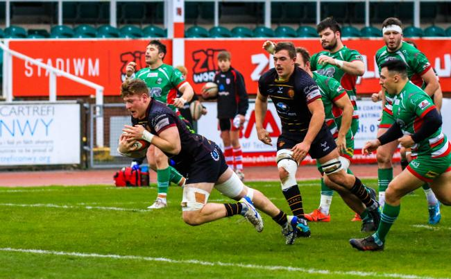 Tim Grey scores for RGC against Ebbw Vale (Photo by Tony Bale)