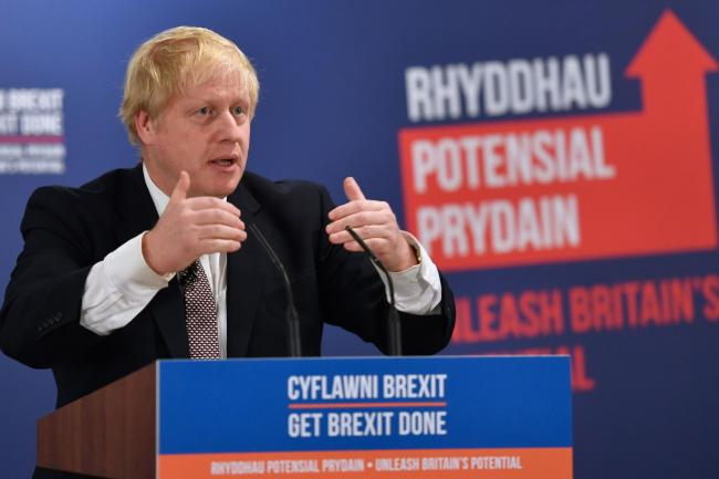 Prime Minister Boris Johnson at the launch of the Conservative Party Welsh manifesto in Wrexham. Picture: PA