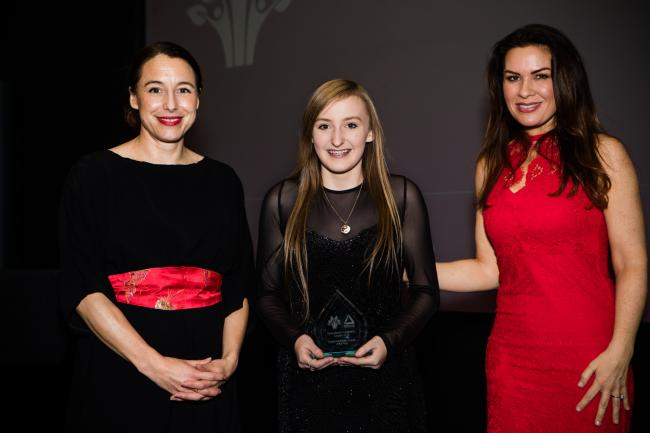 Jo Daniels of Marks & Spencer with Bethan Owen and weather presenter Georgina Burnett at the awards