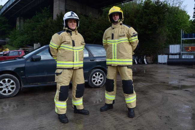 North Wales Fire and Rescue Service staff try on the new personal protective equipment