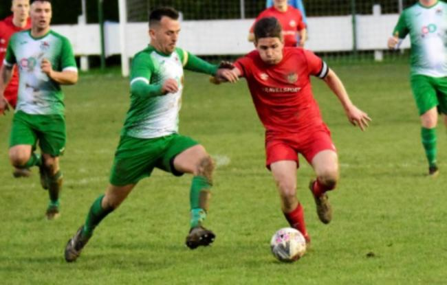 Action from Bodedern Athletic's defeat at Denbigh Town (Photo by Steve Whitfield)