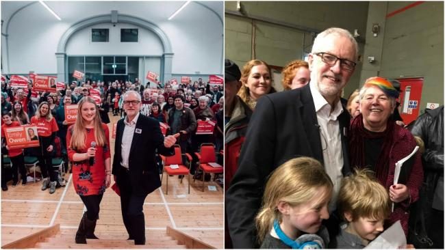 Jeremy Corbyn with candidates Emily Owen and Joanne Thomas