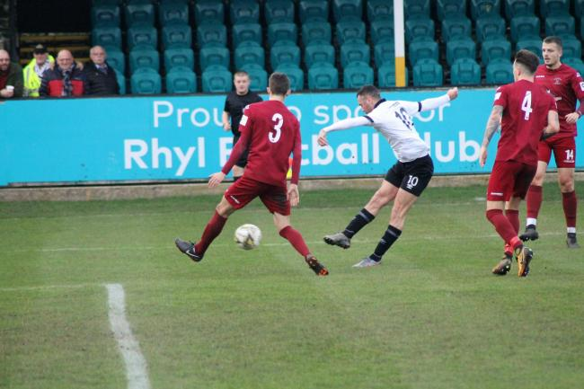 Action from Rhyl's home loss to Llandudno (Photo by James Curran)