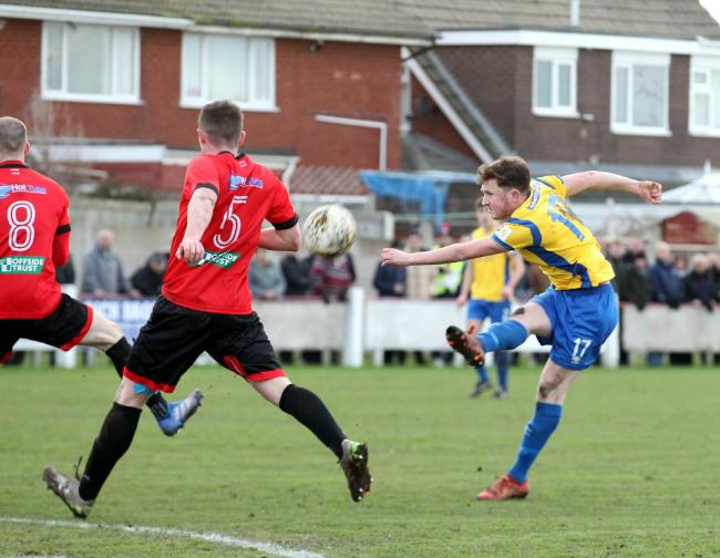 Tommy Creamer in action for Rhyl FC last season