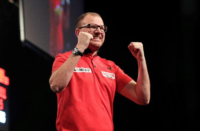 Mark Webster at the 2017 Grand Slam of Darts. Picture: Lawrence Lustig / PDC