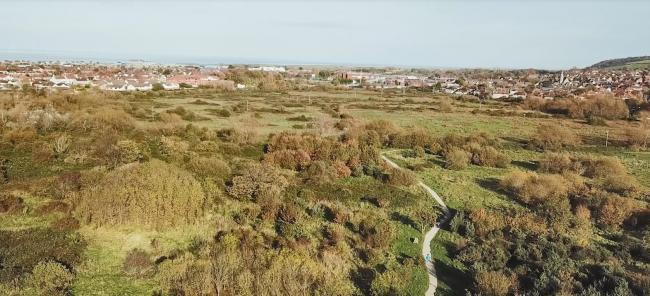 An aerial view of The Morfa - 35 acres of wetland purchased in Prestatyn