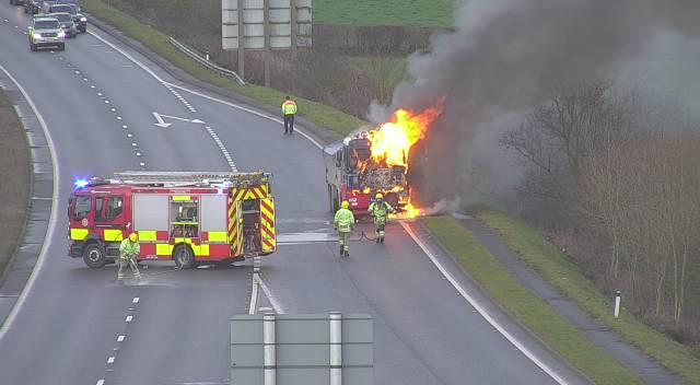 The vehicle fire on the A55 in Flintshire.