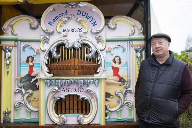 Francis Stapleton and his Dutch street organ, Astrid which is featuring at the Bangor Music Festival next month after 10 composers have written exclusive pieces for her which will be played.    Picture Mandy Jones