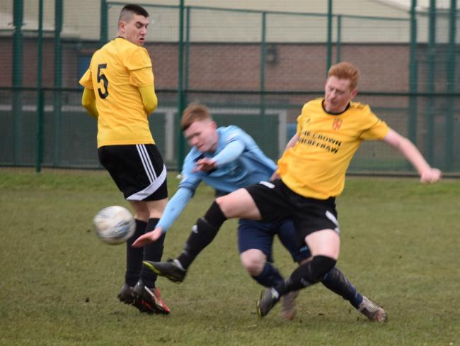 Action from Aberffraw's loss at Kinmel Bay (Photo by Barry Griffiths)