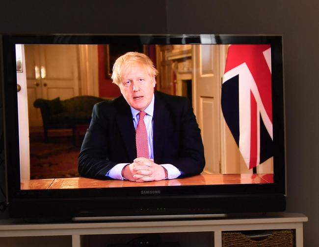 Coronavirus crisis.  Prime Minister Boris Johnson addresses the nation where he instructed the Country to lockdown to stem the spread of the virus: 23 March 2020.STUART WALKER.