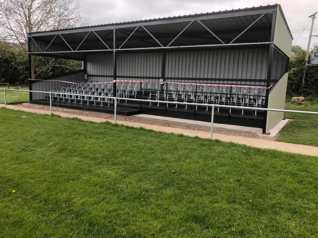 The new stand at St Asaph City FC is nearing completion