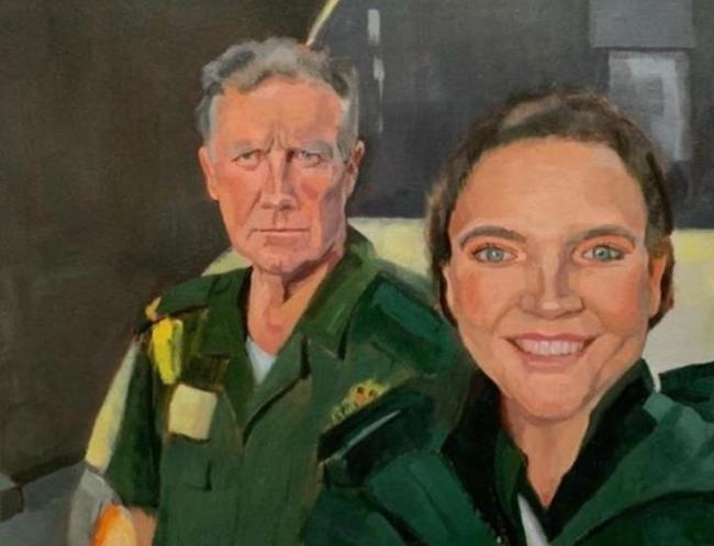 The portrait of Ciara Bollard and father, Kelvin Bollard who are both paramedics in the North Wales Ambulance Service