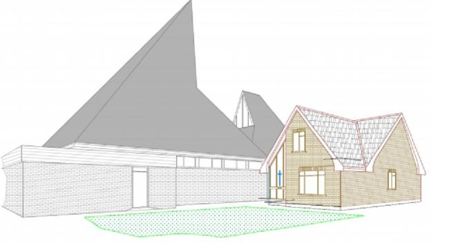 Perspective view of proposed presbytery in the context of the existing church. Picture: Design and Access Statement