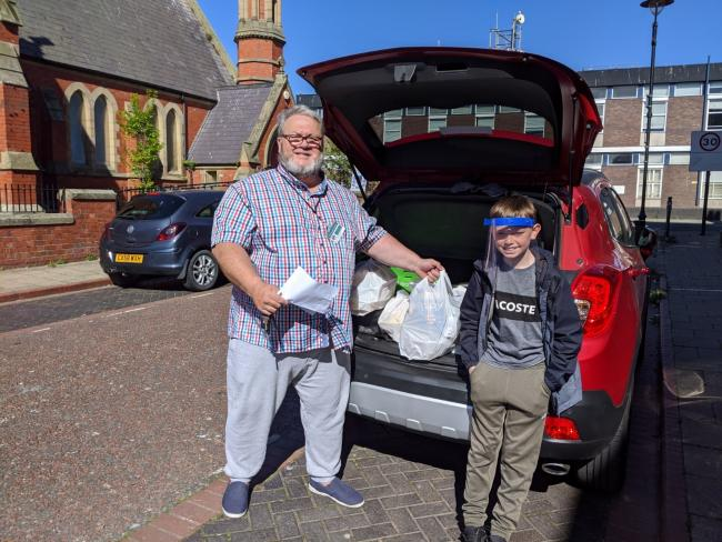 Lee Hatswell - volunteer delivery driver and his grandson Callum