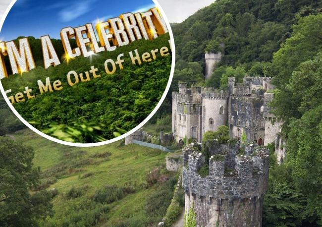 I'm a Celeb logo (Picture ITV) and Gwrych Castle which overlooks Abergele