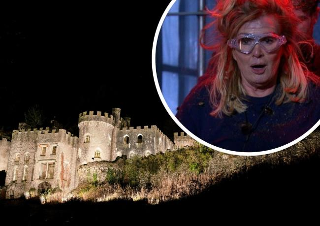 Gwrych Castle (main pic) and Beverley Callard emerges from the first trial. Pictures: Main: ITV and top right, I'm A Celebrity... / Twitter
