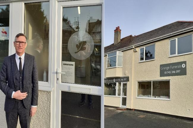 Mr Williams, owner of Grange Funerals outside his new property in Rhyl.