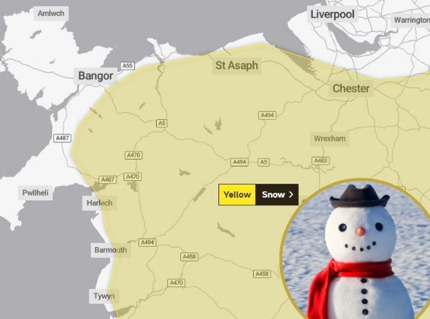 Warnings of snow on the way to North Wales.