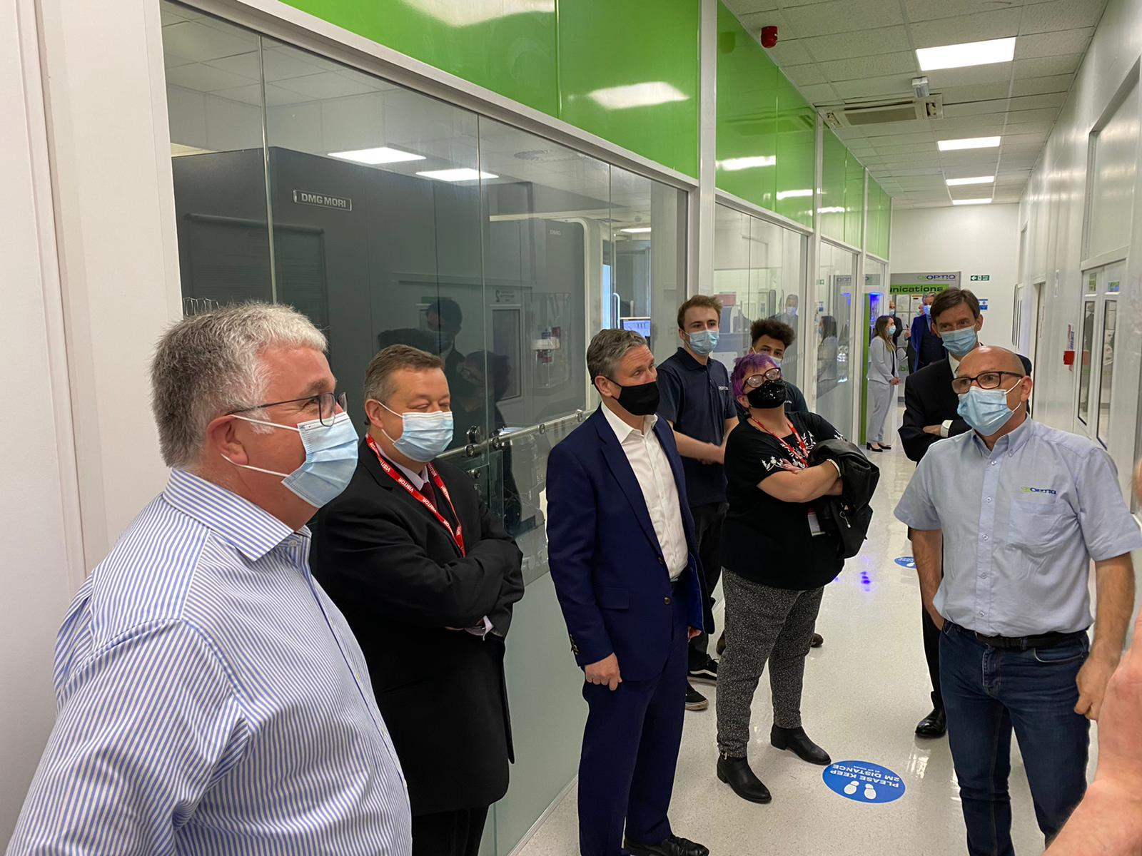 Labour leader Sir Keir Starmer paid a visit to the Qioptiq in Bodelwyddan. Pictures: Welsh Labour