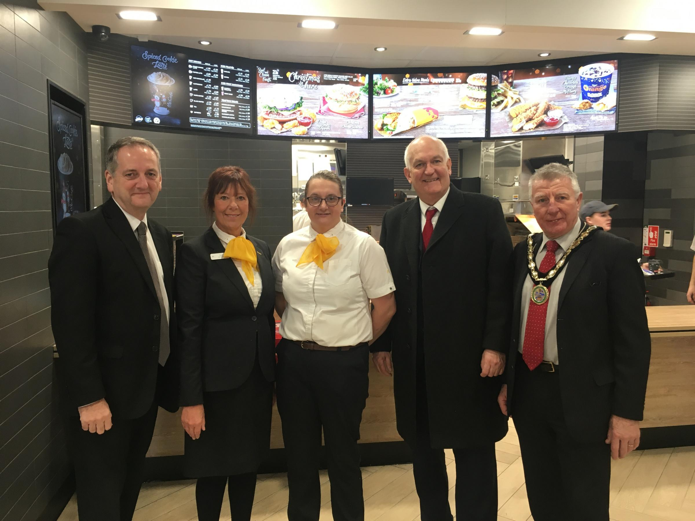Stewart Williams franchisee, Carol Jones hospitality manager, Carol's daughter-in-law Sarah Jones, Chris Ruane, MP for the Vale of Clwyd and cllr Alan James, Mayor of Rhyl
