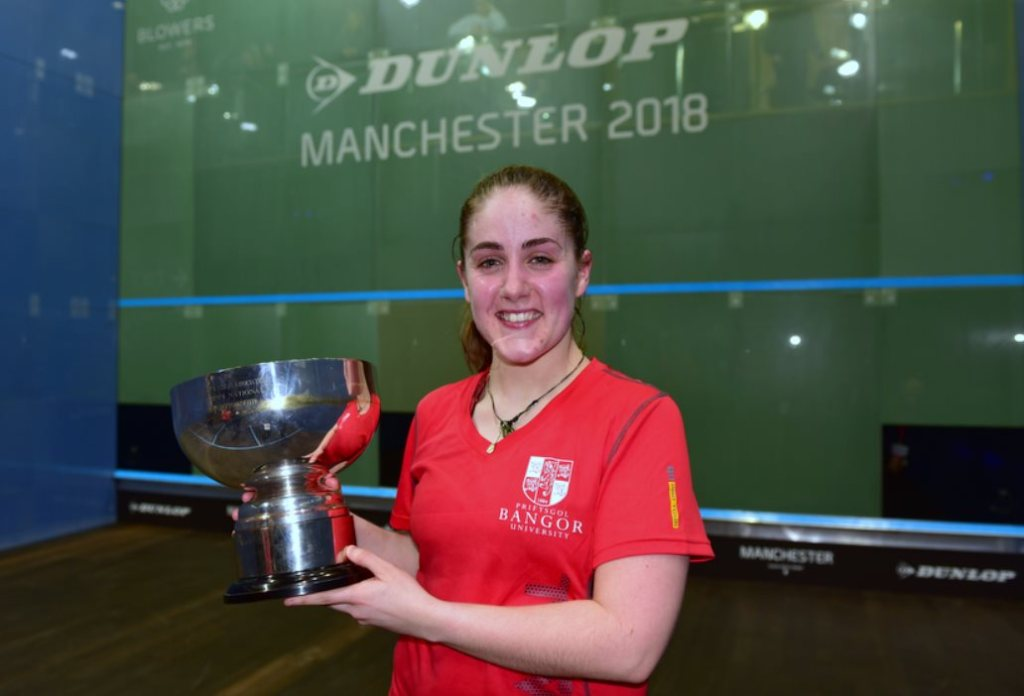 Tesni Evans with her British Championship trophy