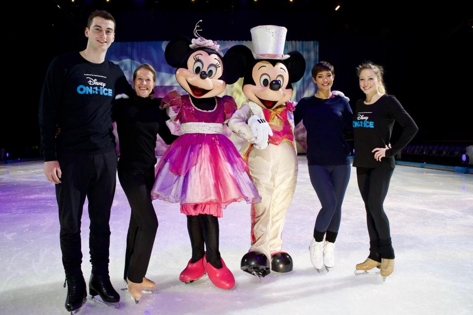 Former Saturdays star Frankie Bridge, second from right, with the Disney On Ice team. Picture: Disney