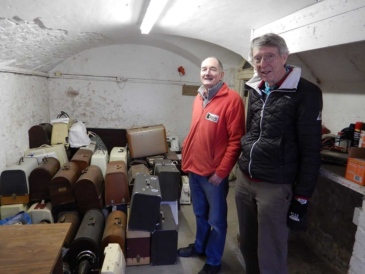 Machines in the cellar at Llannerch Hall, where one of the rotary members lives. In the photo are Joe from Krizevac (in red top) and Alex Wilson from the rotary. This time the project has been coordinated by Alex Wilson who is the chair of the rotary's