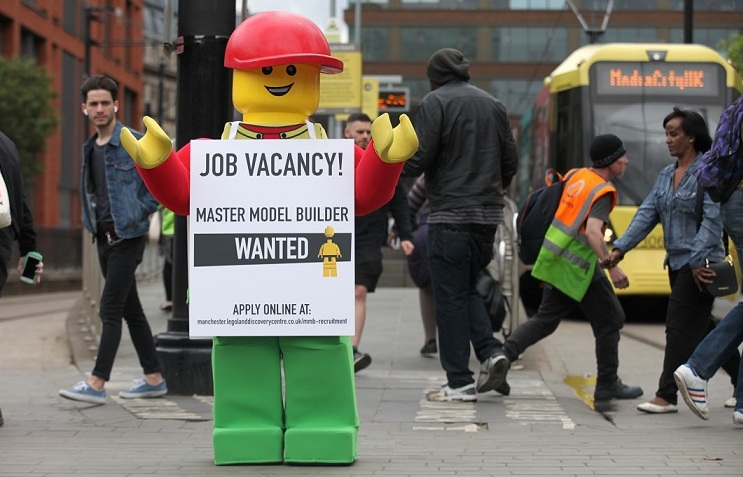Bertie lets people know there is a Master Model Builder job vacancy available. Picture: Jason Lock