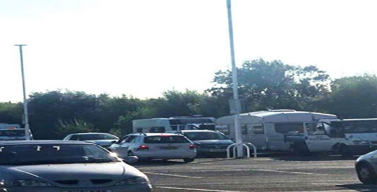 Travellers pitched up on the site, despite a bid by staff to stop them. Picture: David Cooper