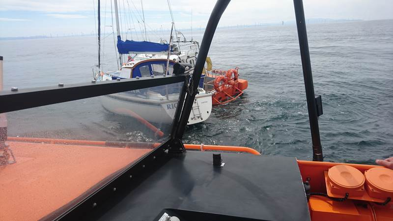 The unmanned yacht being recovered by the RNLI. Picture: RNLI/Paul Frost MBE