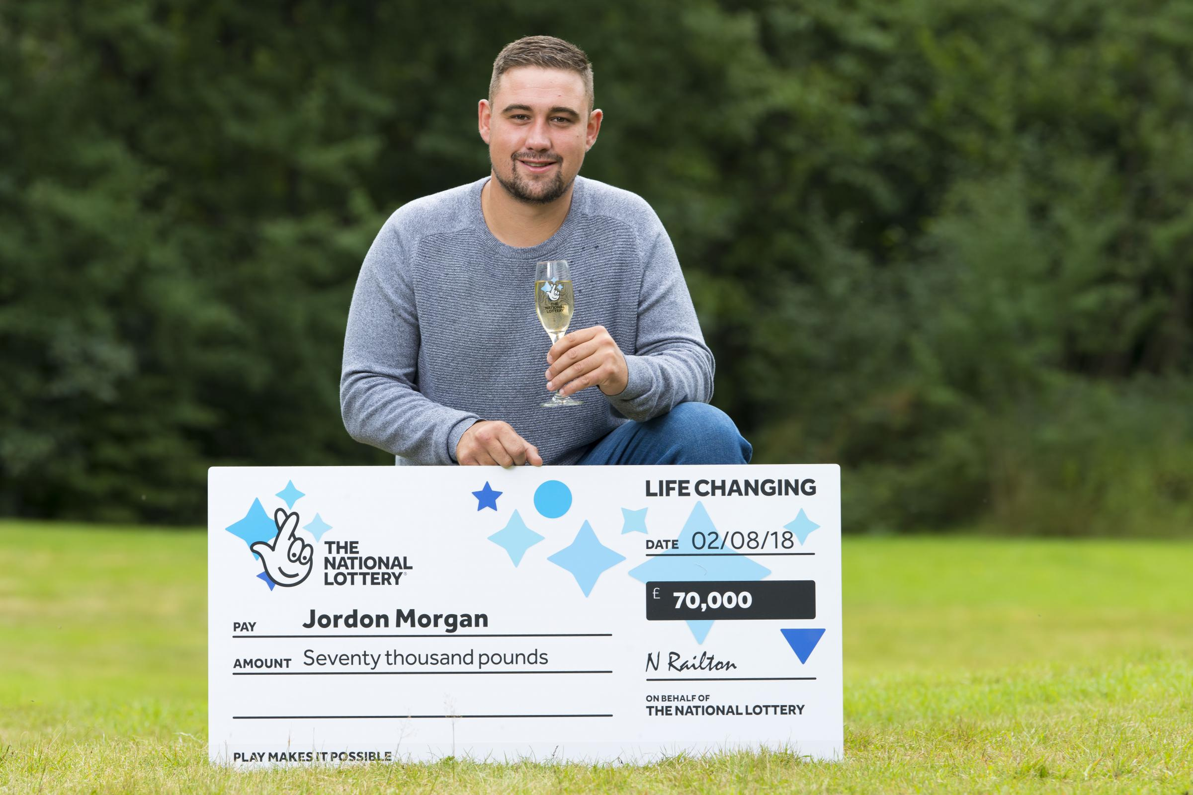 Jordon Morgan, 27, won £70,000 on a National Lottery Scratchcard. Picture: Camelot