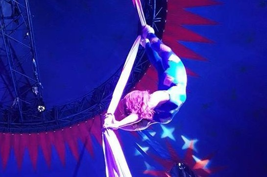 Talia performing one of her routines for Russell's International Circus. Picture: Facebook/ Talia Claire