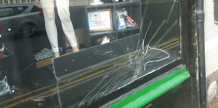 The Garden Den's shop front window was smashed early this morning