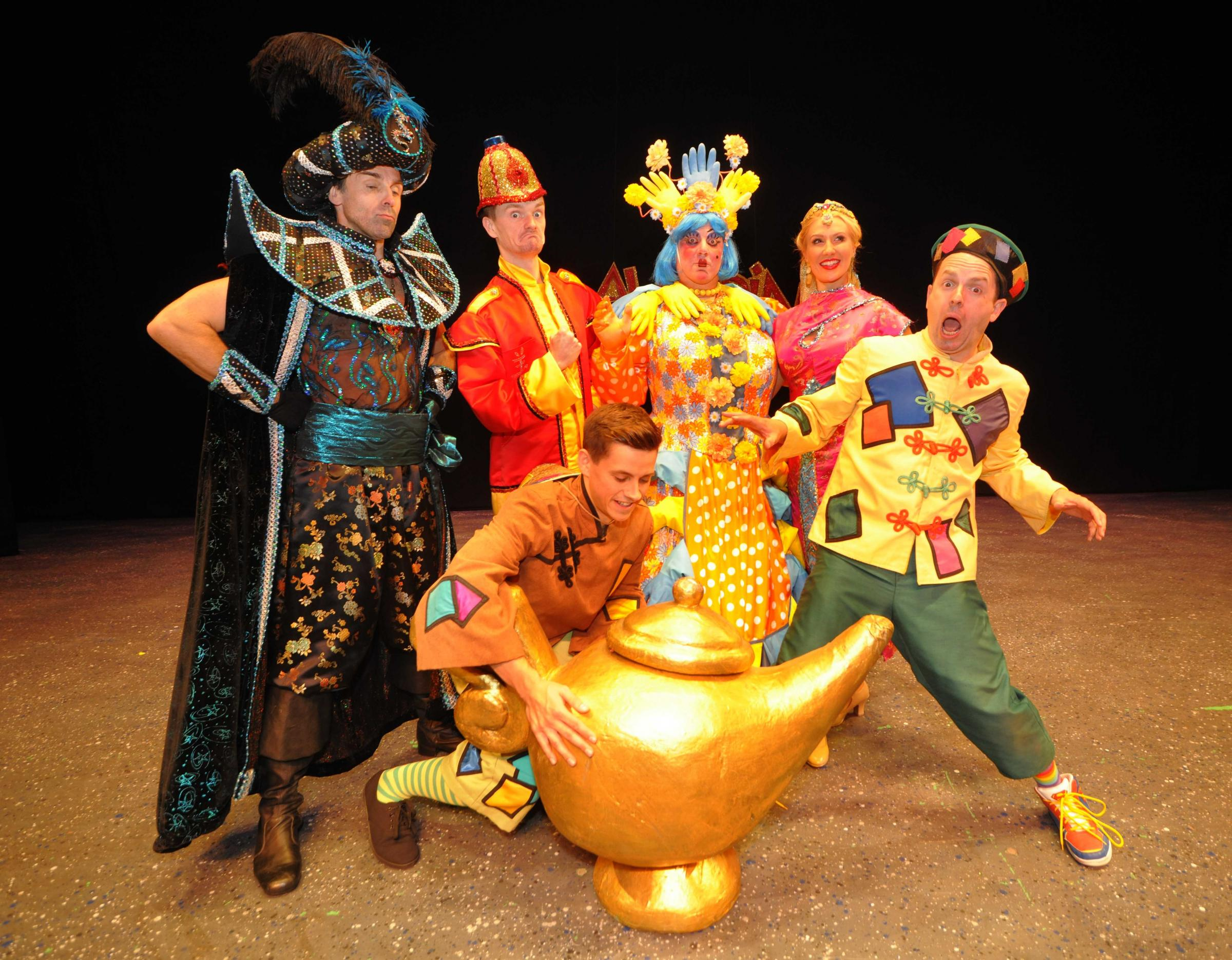 The cast of Aladdin at Rhyl's Pavilion Theatre. Picture: Phil Micheu