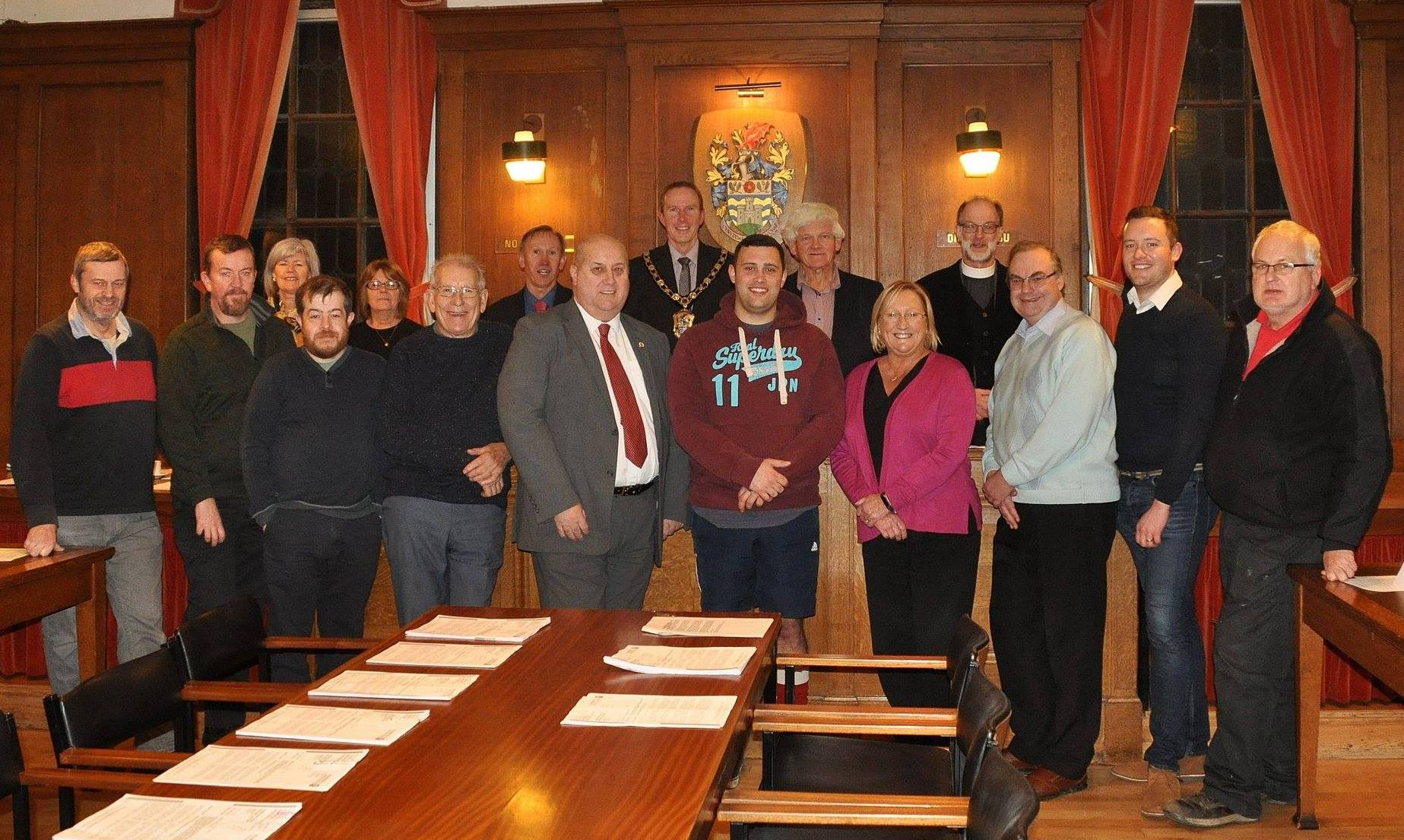 Group shot of some of the town councillors from what was thought to be the last meeting in the chamber. Picture: Anton Sampson