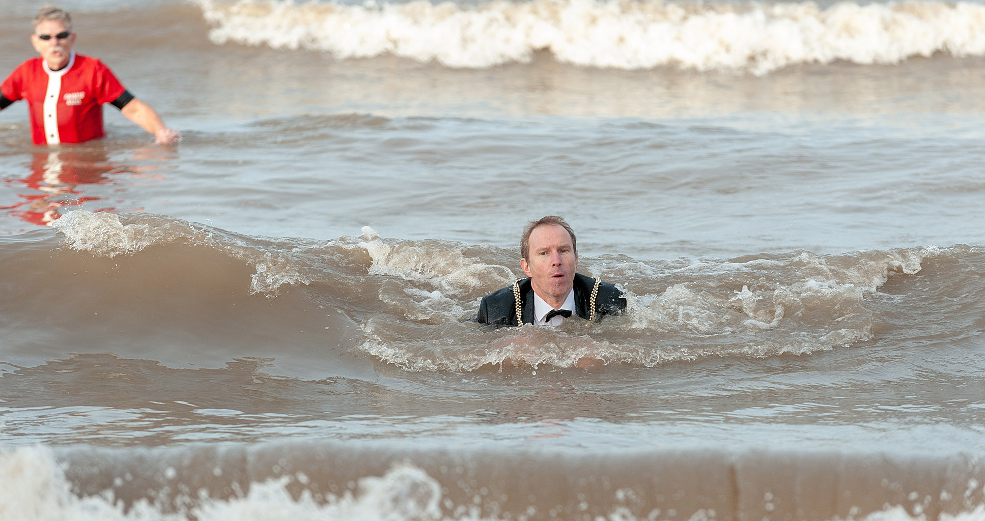 Cllr Anton Sampson, mayor of Prestatyn, lasted 15 minutes in the chilly waters. Picture: Chris Porteous