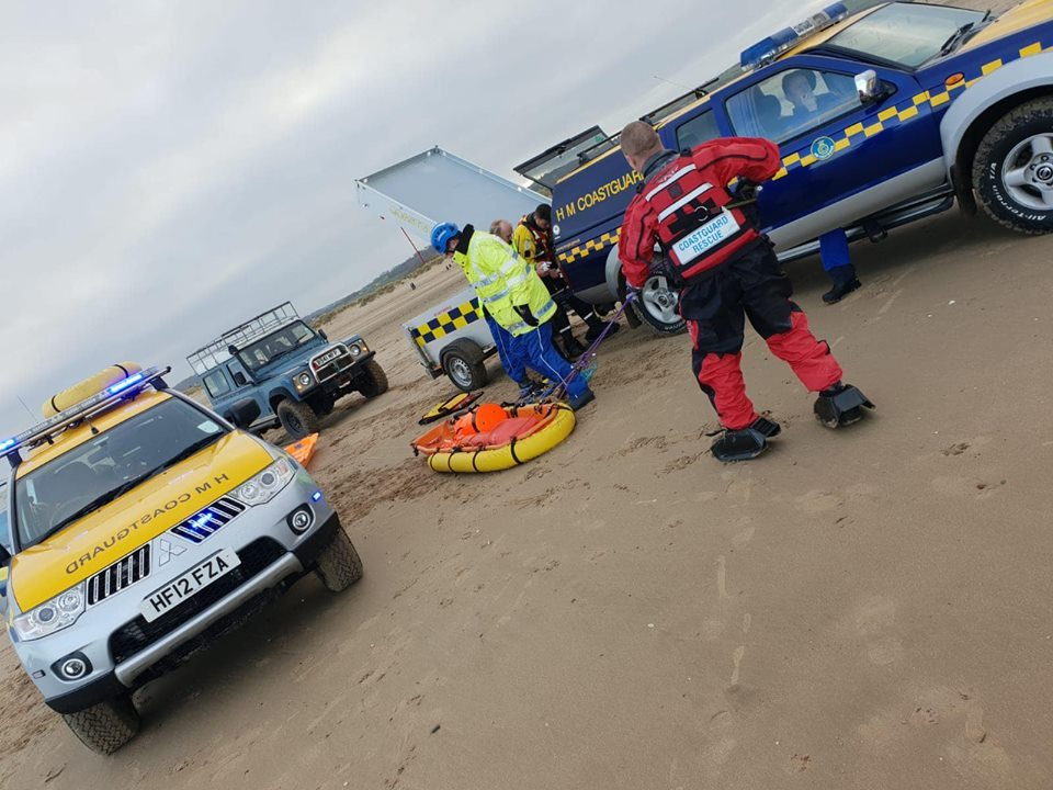 The Flint Coastguard Rescue Team were helped by colleagues in Rhyl to free a person trapped in mud on Talacre Beach.