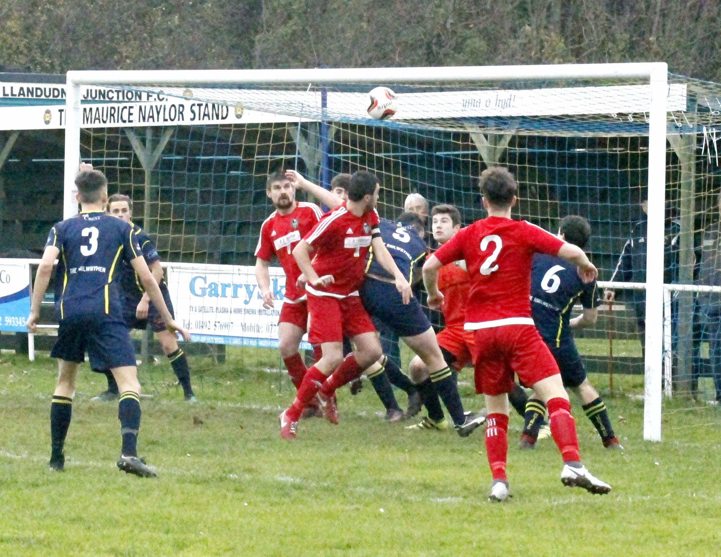 Llandudno Albion picked up a hard-fought victory at Llanrwst United (Photo by Dave Thomas)